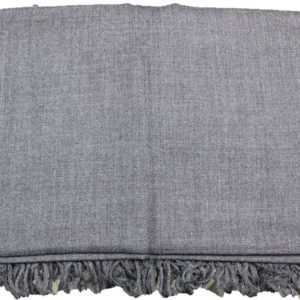 Kullu Wool Men's Shawl/Loi- Dark Grey-Plain