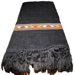 Kullu Cashmilon Women Shawl-Black Color with Embroidery