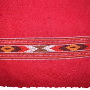 Kullu Cashmilon Women Shawl-Red Color with Embroidery