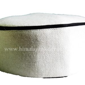 Malana Topi (Cap)- White Color with Embroidery