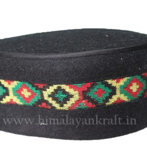 Kullu Cap (Topi)- Be a Pahari – Black with Patti- HimalayanKraft
