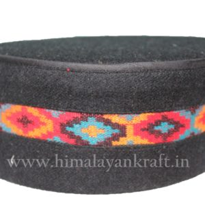 Kullu Cap (Topi)- Be a Pahari – Black with Beautiful Patti- HimalayanKraft