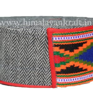 Kullu Cap (Topi)- Be a Pahari – Grey with Embroidery- HimalayanKraft