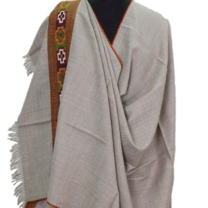 Kullu Pure Wool Handwoven Women Shawl- Grey Color