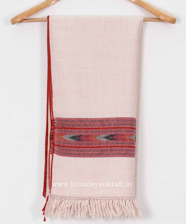 Pure Wool Handwoven Embroidered Women Pink Shawl