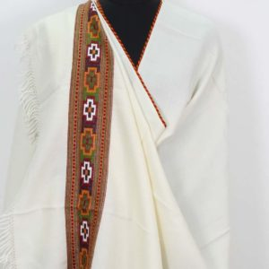 White Shawl Kullu Pure Wool Handwoven for Women