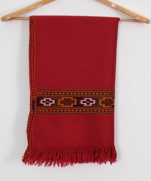 Red Shawl Kullu Pure Woolen Shawl
