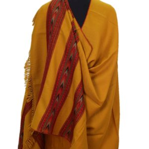 Kullu Pure Wool Handwoven Embroidered Women Yellow Shawl