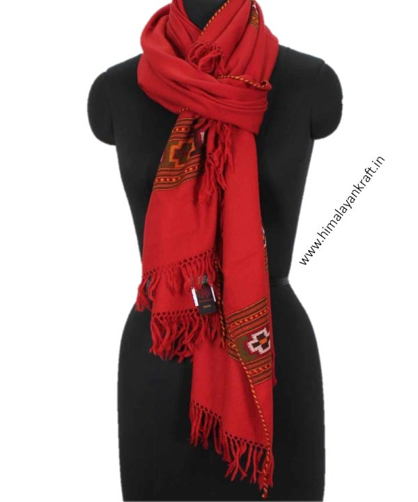 Ladies Stoles Purely Woolen Embroidered Kullu Red-www.himalayankraft.in
