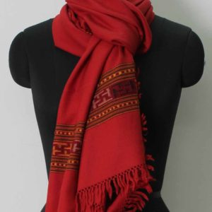 Woolen Scarf Stoles Handloom Embroidered Kullu Red