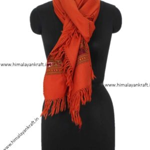 Designer Woolen Stole Handwoven Embroidery Orange