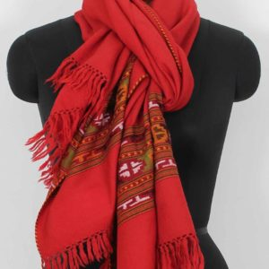 Shoulder Wrap Stole Handwoven Embroidery Light Red