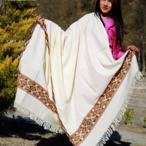 Light Weight Himalayan Wool Purely Hand Woven Border Shawl