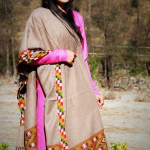 Loom Shawl Purely Hand Woven Kullu Handloom Border (Light Brown)