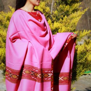 Genuine Woolen Pure Handloom Kullu Hand Woven Border Shawl (Pink)