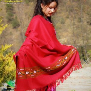Red Woolen Hand Woven Kullu Embroidery Border Shawl