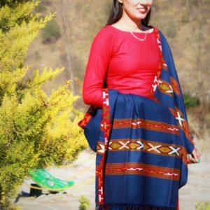 Handloom Pure Wool Kullu Shawl 3 Patti (Blue)