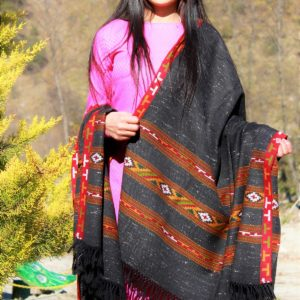 Knitted Woolen Shawl with Border Kullu Handloom (Black)