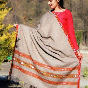 Kullu Handloom Pure Woolen Shawl Light Grey