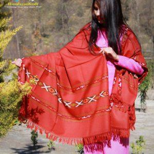 Ultralight Pure Wool Kullu Hand Woven Shawl (Light Red)