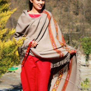Handwoven Pure Wool Fringed Kullu Handloom Shawl (Light Grey)