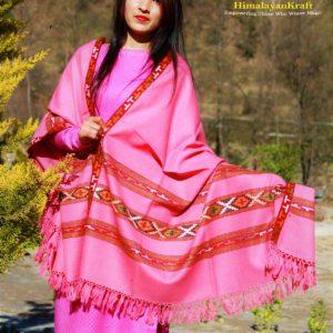 Purely Hand Weaved Woolen Kullu Handloom Shawl Pink