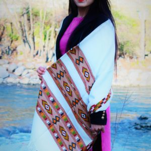 Pure Hand Woven Burfi Designed Handloom Pure Wool Shawl White