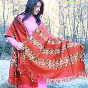 Deep Hand Weaving Burfi Designed Handloom Pure Wool Shawl (Orange)