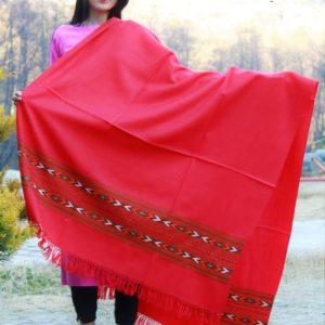 Himachal Shawls Women's Shawl Pure Woolen (Red)