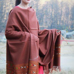 Kullu Embroidered Flowered Pure Wool Hand Woven Shawl Light Brown
