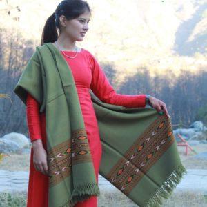Shawl From Kullu Pure Woolen Hand Woven Traditional Weaving