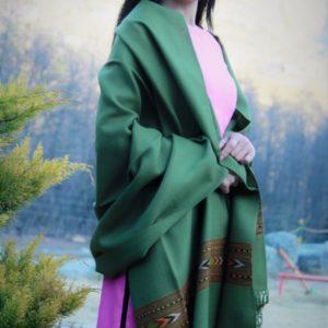 Green Shawl From Kullu Handloom Double Hand Woven Border