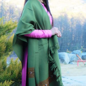 Green Shawl From Kullu Handloom Double Hand Woven Border