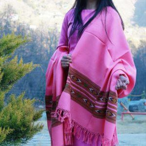 Pink Hand Woven Pure Wool Kullu Handloom Shawl