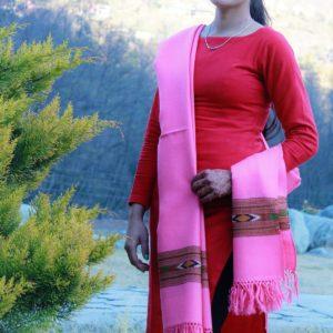 Pink Hand Woven Pure Wool Indian Shawl Himachal Handloom
