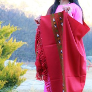 Pure Wool Kullu Shawl Hand Weaving Himachal Handloom (Red)