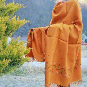 Pure Wool Kullu Hand Weaving Handloom Shawl Flower Embroidery