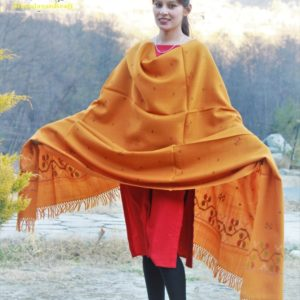 Pure Wool Kullu Hand Weaving Handloom Shawl Flower Embroidery