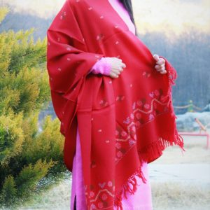 Pure Wool Hand Weaving Handloom Shawl Flower Embroidery (Red)