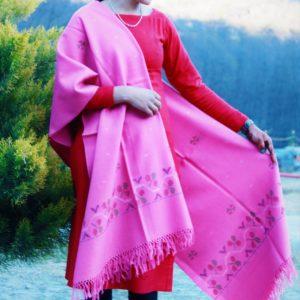 Warm and Soft Pure Wool Kullu Handloom Shawl (Pink)