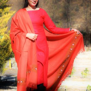 Orange Pure Wool Purely Hand Woven Embroidered Handloom Shawl
