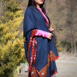 Blue Hand Woven Embroidered Handloom Pure Wool Shawl