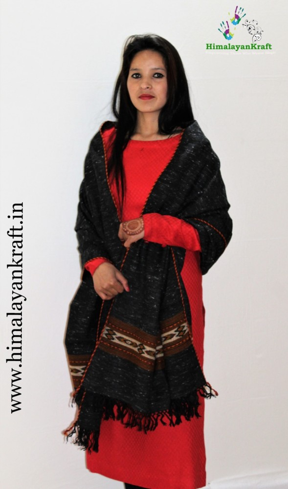 Ladies Pure Wool Kullu Handloom Stole with Traditional Weaving Design www.himalayankraft.in