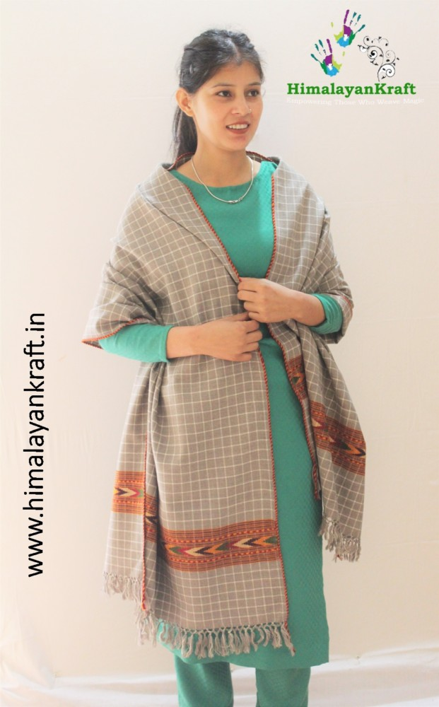HimalayanKraft's Kullu Handloom Pure Wool Stripped Stole-www.himalayankraft.in