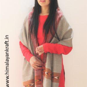 HimalayanKraft Handwoven Pure Wool Fringed Kullu Stole