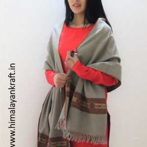 Ladies Pure Wool Kullu Handloom Stole with Traditional Weaving Design