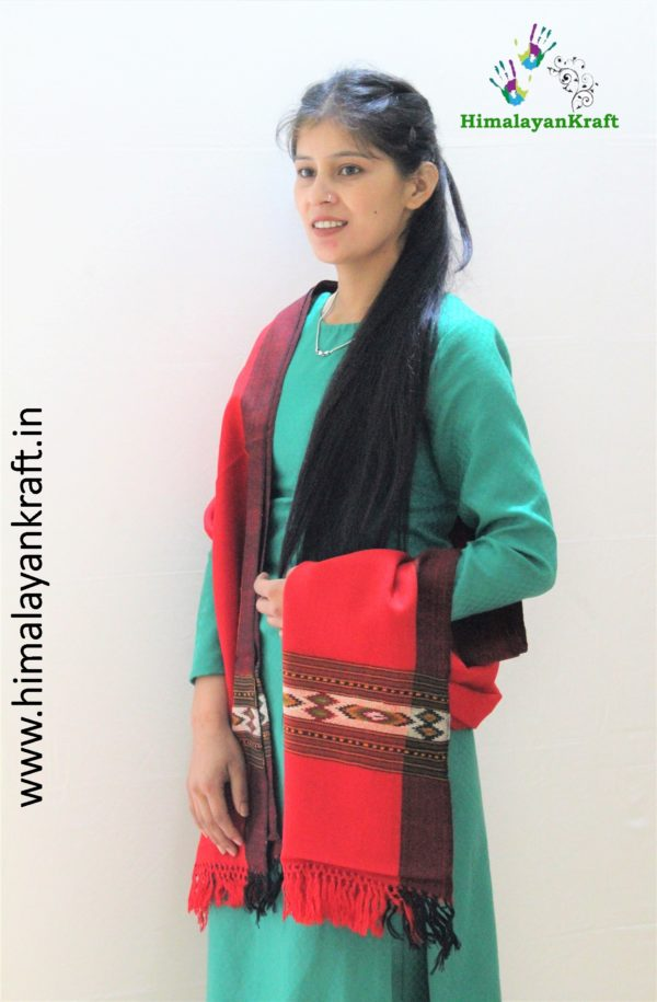 Kullu Handloom Pure Wool Hand Woven Scarf Stole for Ladies- www.himalayankraft.in