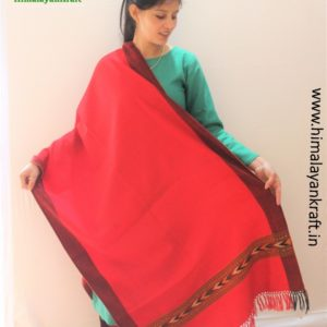 HimalayanKraft's Handloom Ultra-Light Pure Wool Kullu Stole (Red)