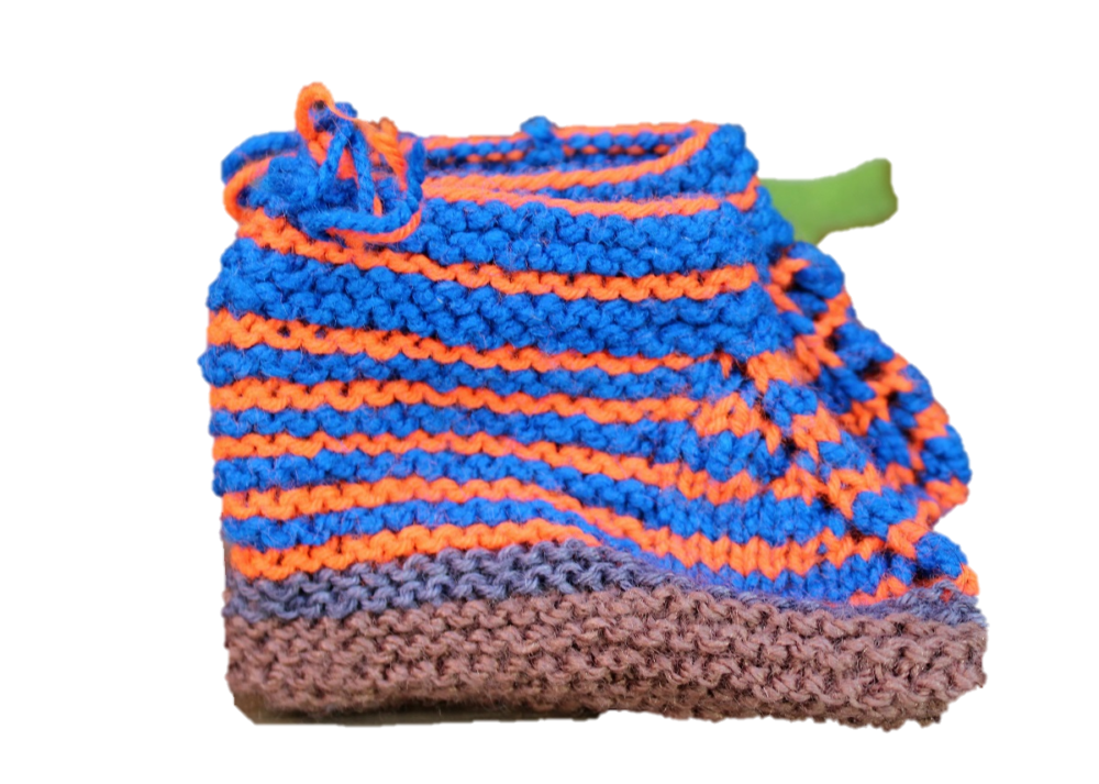 Hand Knitted Baby Woolen Booties (0-24 Months) 3 Pair- Blue Color