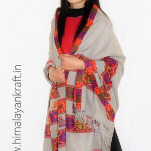 Purely Hand Woven Wool Kullu Handloom Kinnauri Shawl